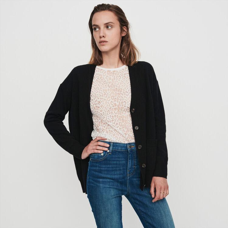 Cashmere cardigan : Pullovers & Cardigans color Black