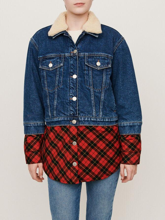Plaid trompe-l'oeil jean jacket -  - MAJE