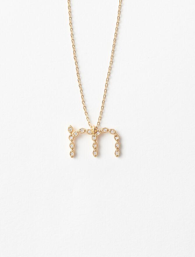Rhinestone M necklace - Alphabet necklaces - MAJE