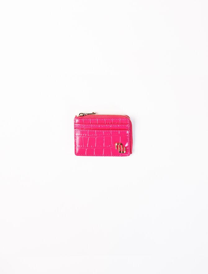 Fuchsia embossed leather card holder -  - MAJE