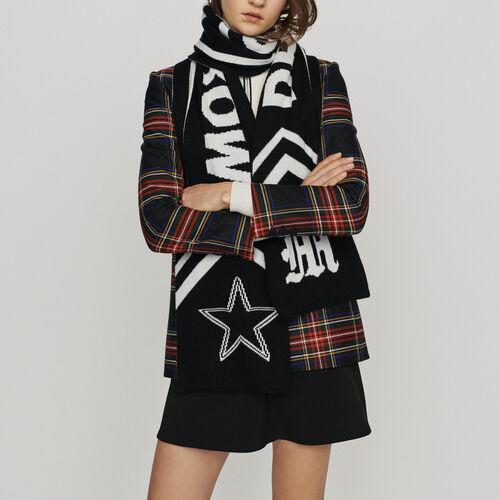 Scarf with contrasting inscription : Shawls & Ponchos color Black 210