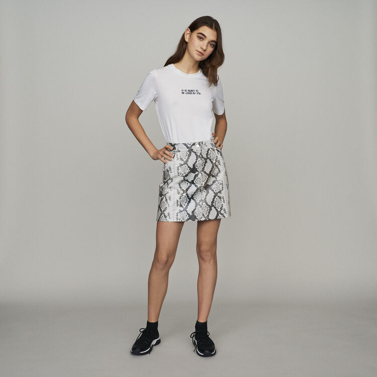 Short skirt in leather : Skirts & Shorts color PRINTED