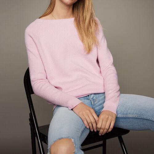 V-back sweater : Knitwear color PURPLE