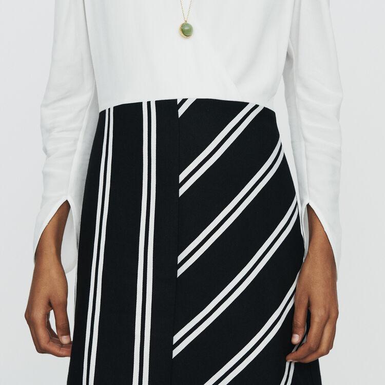 Bimaterial straight dress : Dresses color Off White