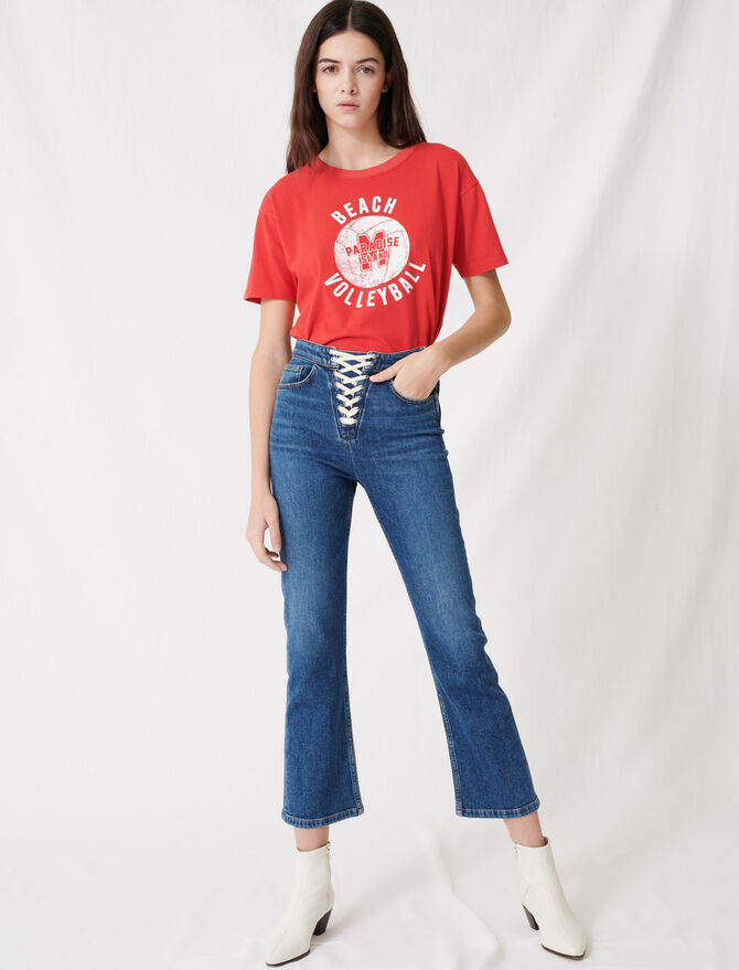 Denim blue jeans with lace fastening -  - MAJE