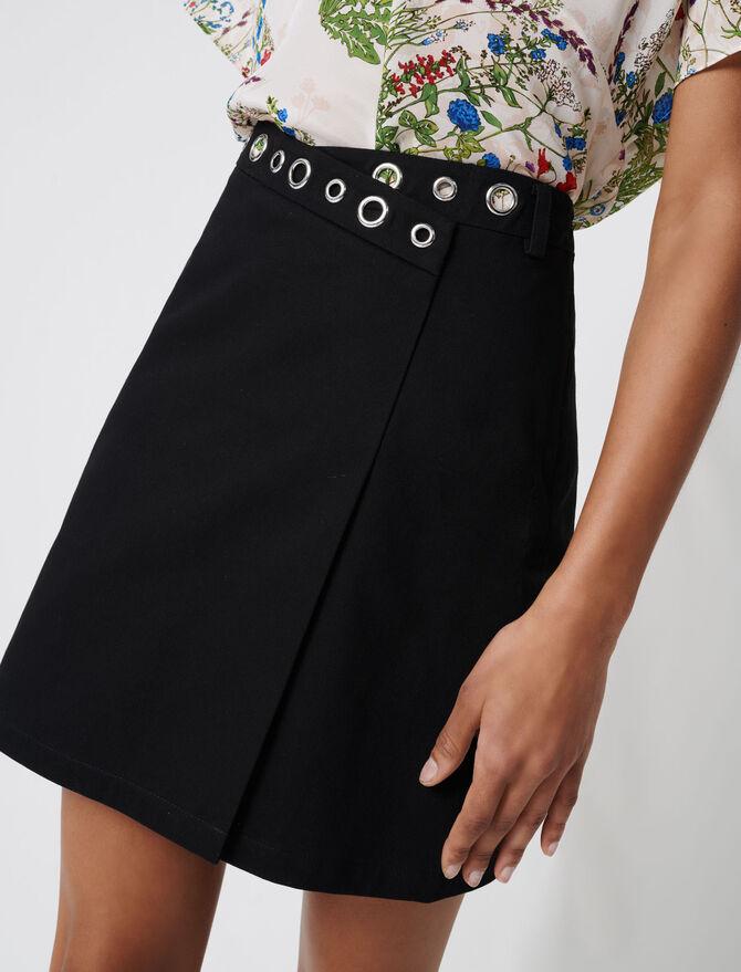 Wrap mini skirt with eyelets -  - MAJE