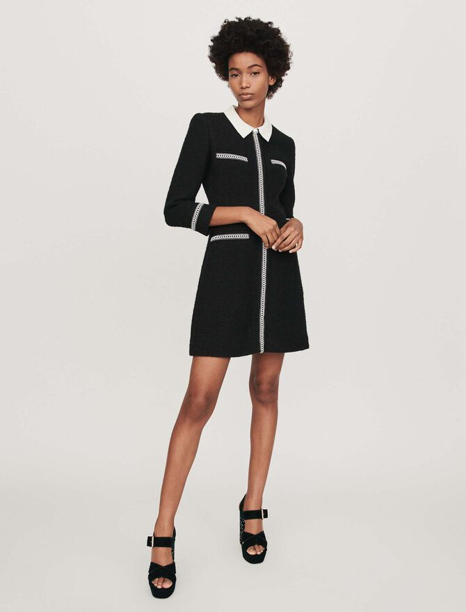 Tweed-style contrast dress - SoldesFR_Robes - MAJE