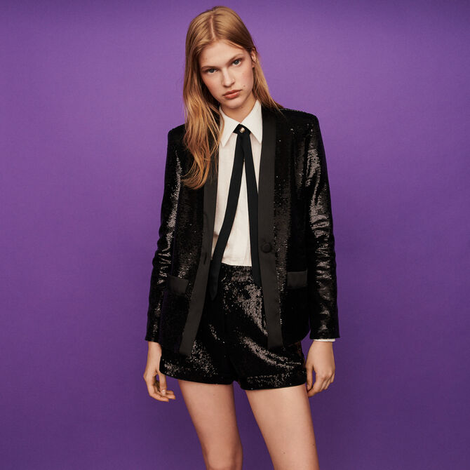 Sequin and satin jacket - staff private sale 20 - MAJE