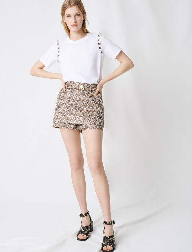 Jacquard shorts with removable belt - Skirts & Shorts - MAJE