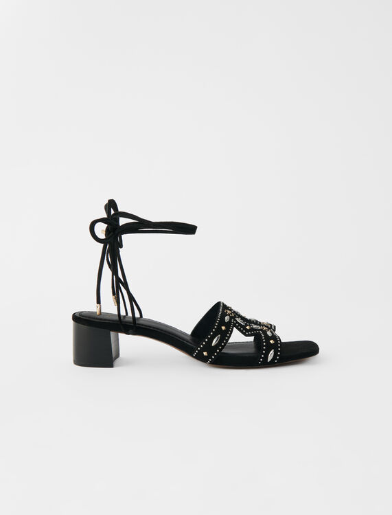 Low-heeled tie sandals with studs - Slipper - MAJE