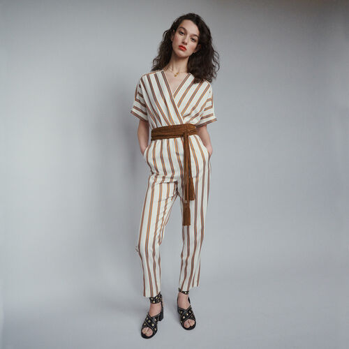 Striped jumpsuit : Trousers color Stripe