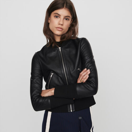 Leather jacket with rib-knit trim : Winter collection color Black