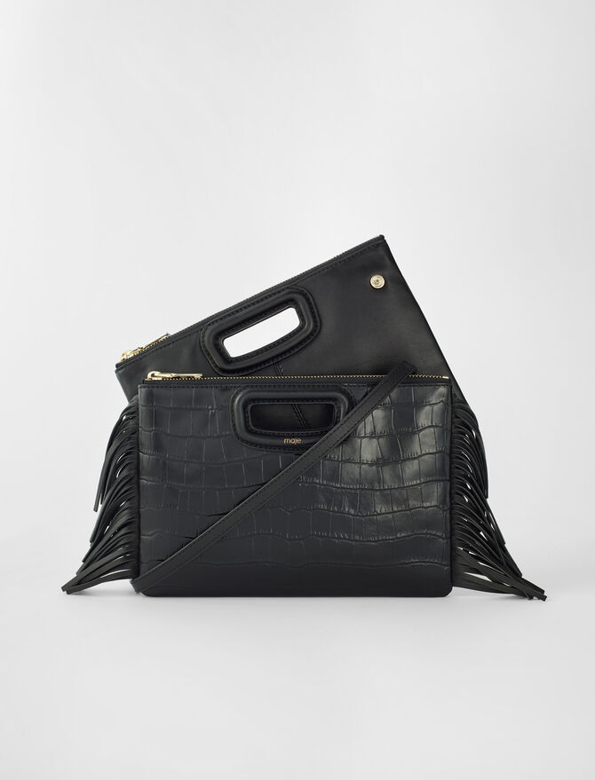 Crocodile effect-leather M Duo clutch -  - MAJE