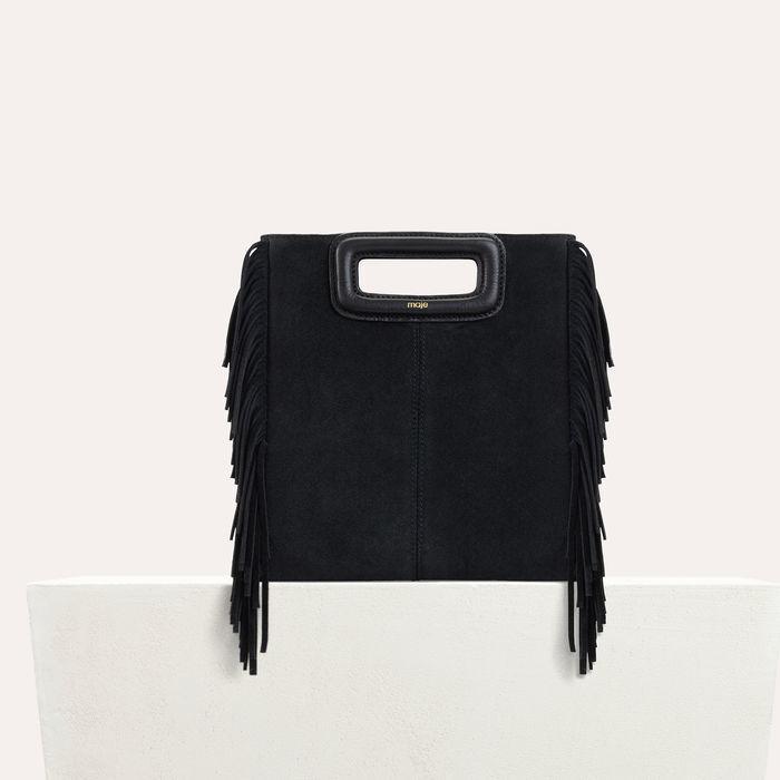 M bag with suede fringes : M bag color Black 210