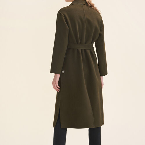 Long double-sided coat : Coats color Khaki