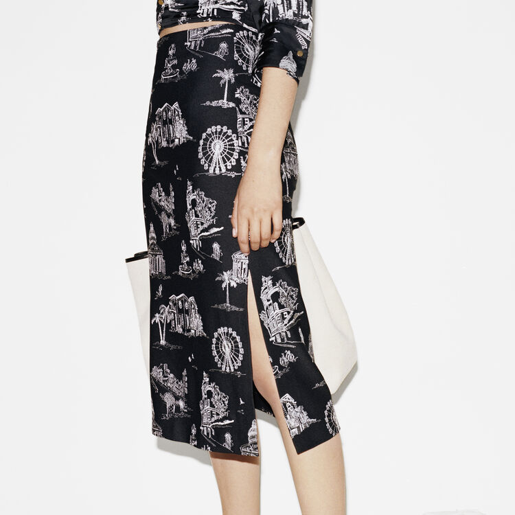 Midi skirt in embroidered crepe : Skirts & Shorts color Black 210