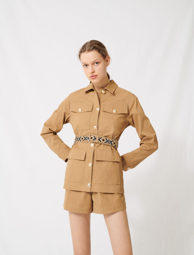 Camel coat with embroidered belt -  - MAJE