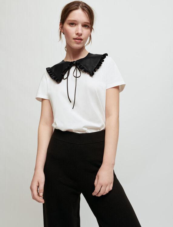Tee-shirt blanc à col en cuir amovible - Pap_Tshirts - MAJE