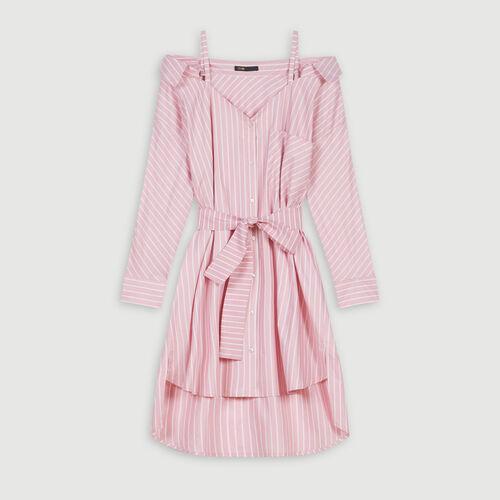 Oversized striped shirt dress : Dresses color Pink