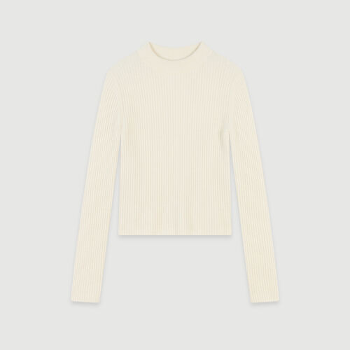 Ribbed turtleneck sweater : Pullovers & Cardigans color Ecru