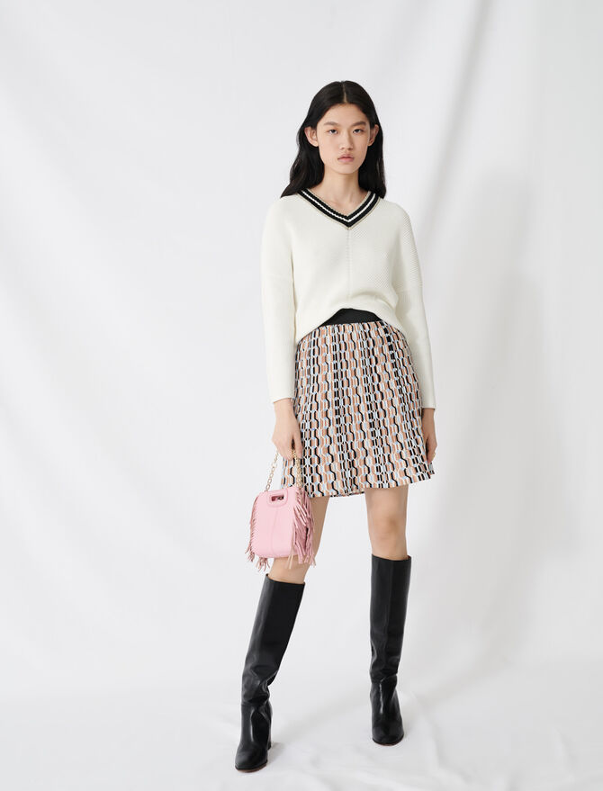 V-neck jumper in decorative knit - Pullovers & Cardigans - MAJE