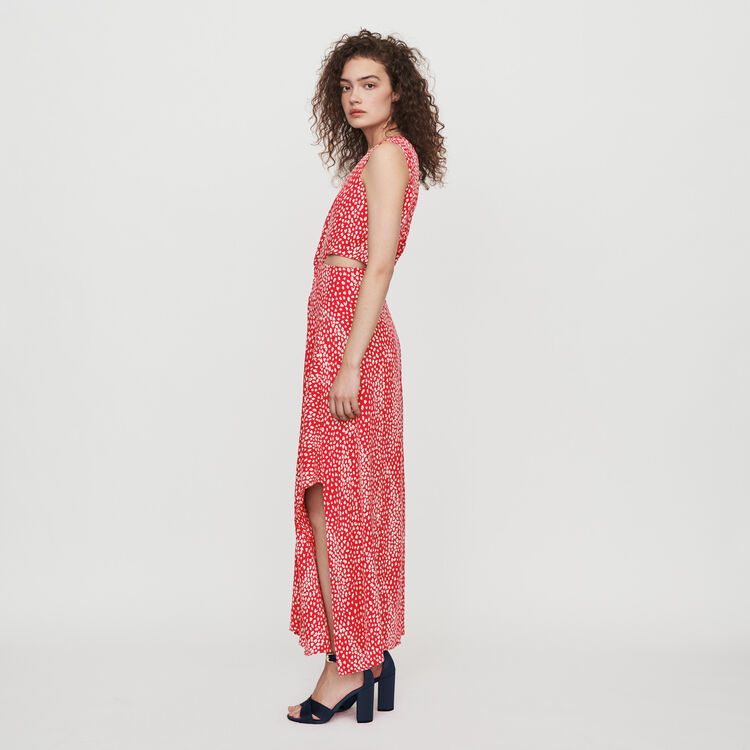 Jacquard-printed long knotted dress : Dresses color Red