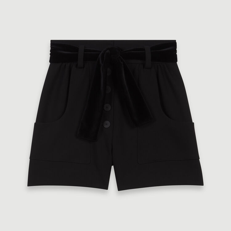 Belted velvet shorts : Skirts & Shorts color Black