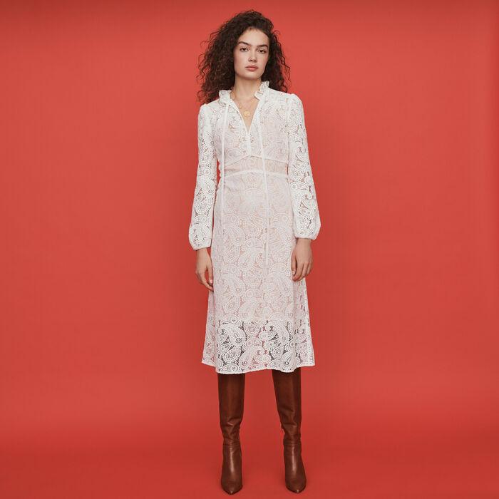 Guipure dress with cashmere detail : Dresses color Ecru