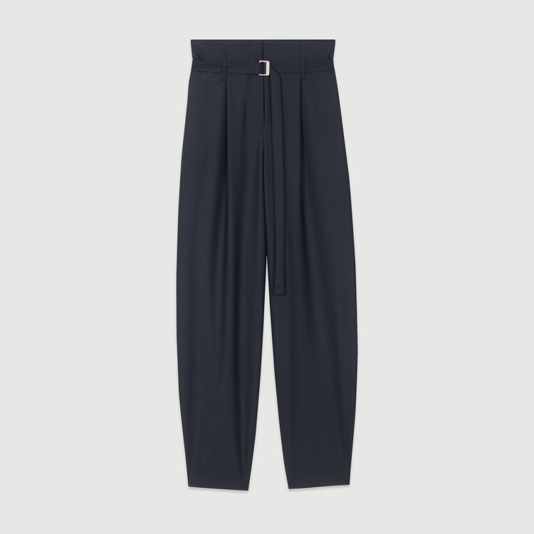 Wide-leg pants with tight ankles : Trousers color Navy