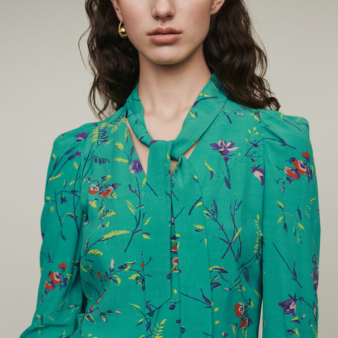 Printed blouse with lavaliere - See all - MAJE