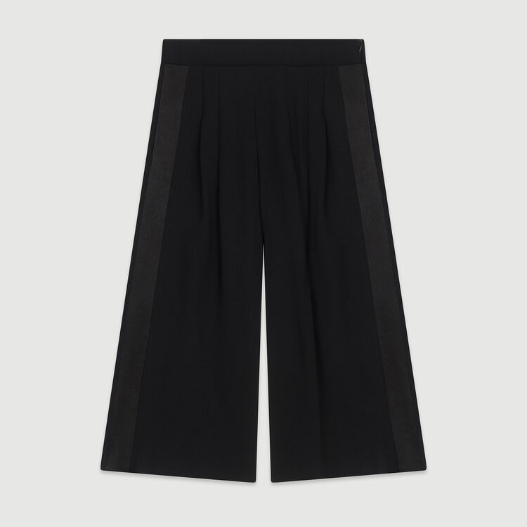 Large trousers in crepe : Trousers & Jeans color Black 210