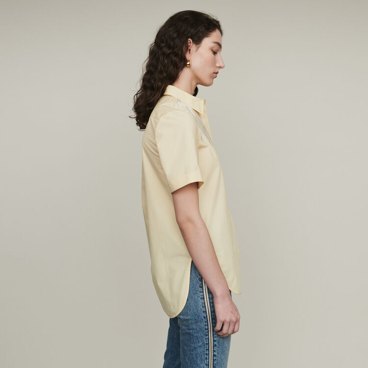 Short-sleeve embroidered shirt : Tops & Shirts color Yellow