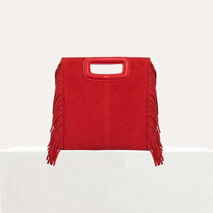 M bag in suede : M bag color Red