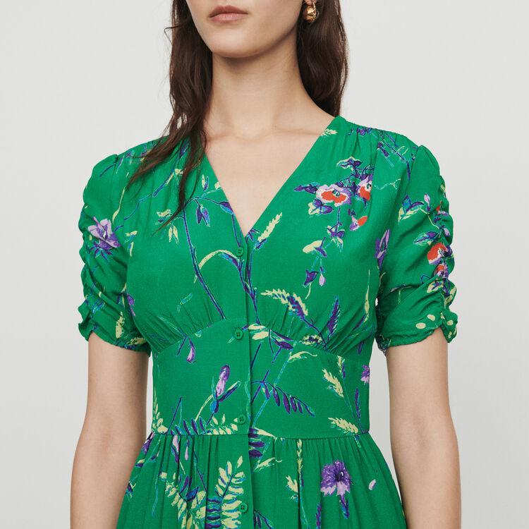 Midi printed dress in crepe : Dresses color Printed
