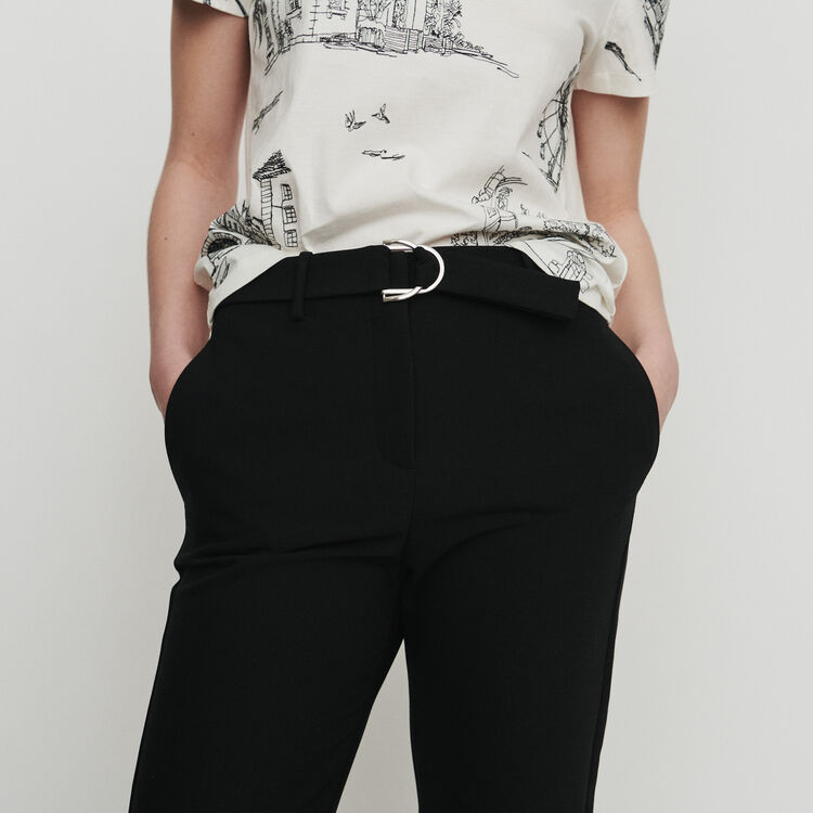 Straight belted pants : Trousers color Black 210