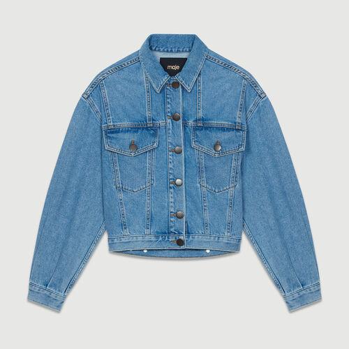 Cropped denim jacket : Jackets color Denim