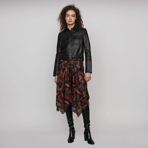 Buttoned leather jacket : Coats & Jackets color Black
