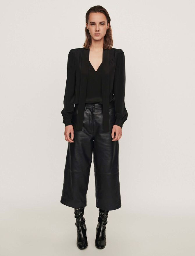 Leather bermuda-like pants - Trousers & Jeans - MAJE