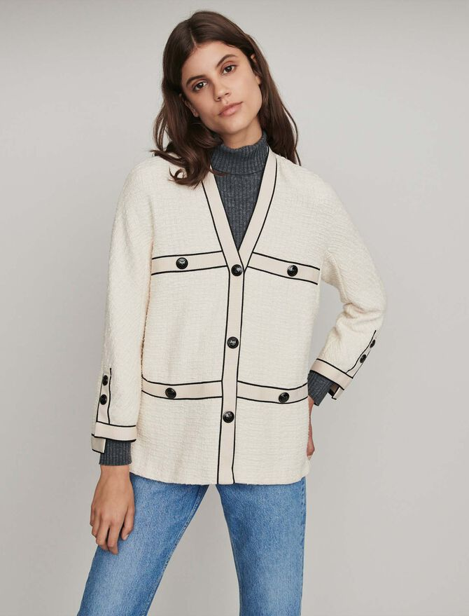 Tweed-style contrast jacket - -30% - MAJE