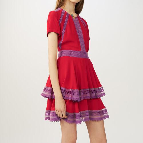Flounced lace dress : Dresses color Navy