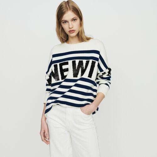 Pull à rayures en laine mélangée : Pap_Pulls-Cardigans couleur ECRU