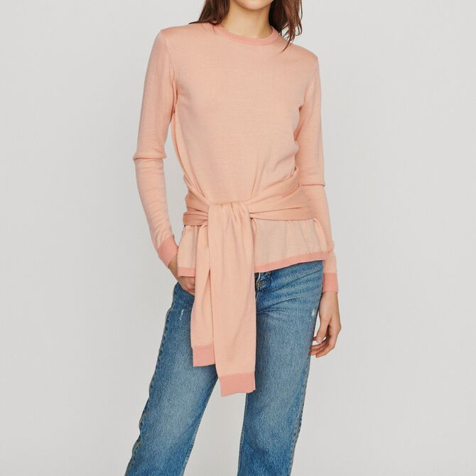 Thin sweater with tie - Sweaters & Cardigans - MAJE