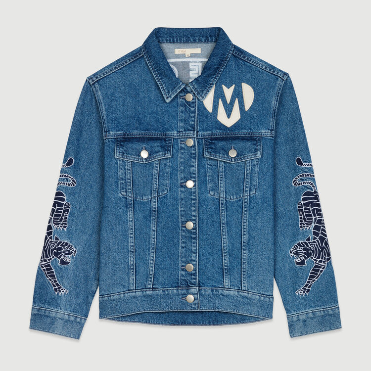 Denim jacket with embroidery : Coats & Jackets color Denim