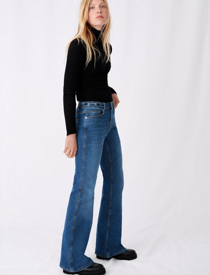 Flared jeans with horsebit detail - Eco-friendly - MAJE
