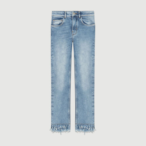 Straight-cut fringed jeans : Jeans color Denim