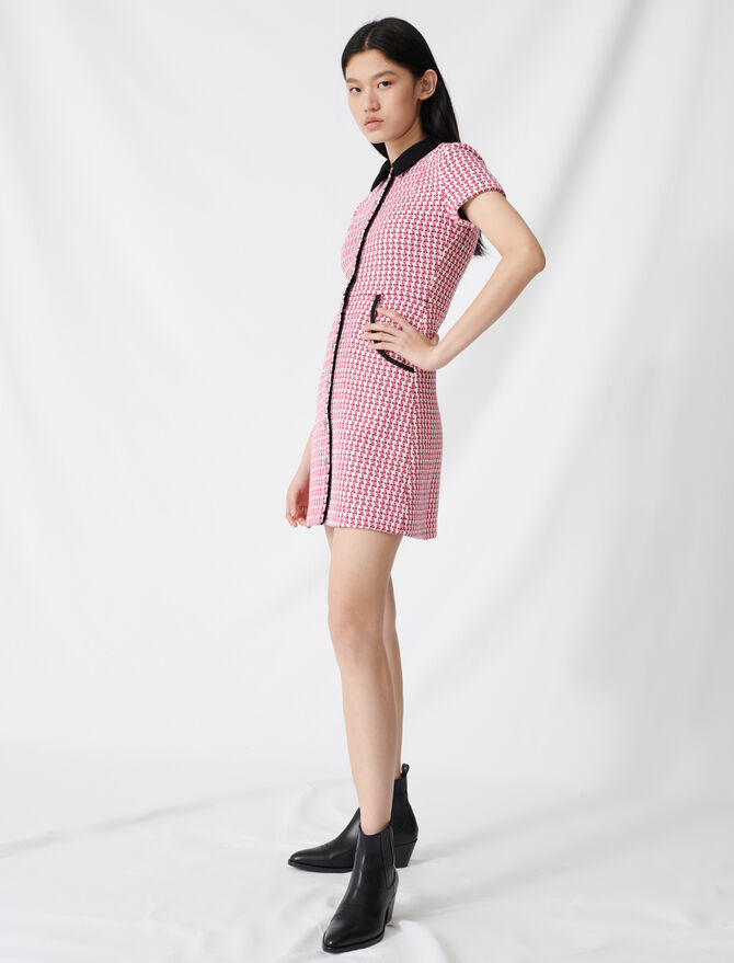 Tweed-style dress, contrasting details -  - MAJE