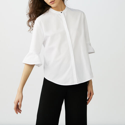 Poplin top : Shirts color White