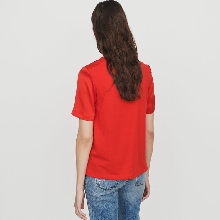 Bimaterial T-shirt : T-Shirts color Red