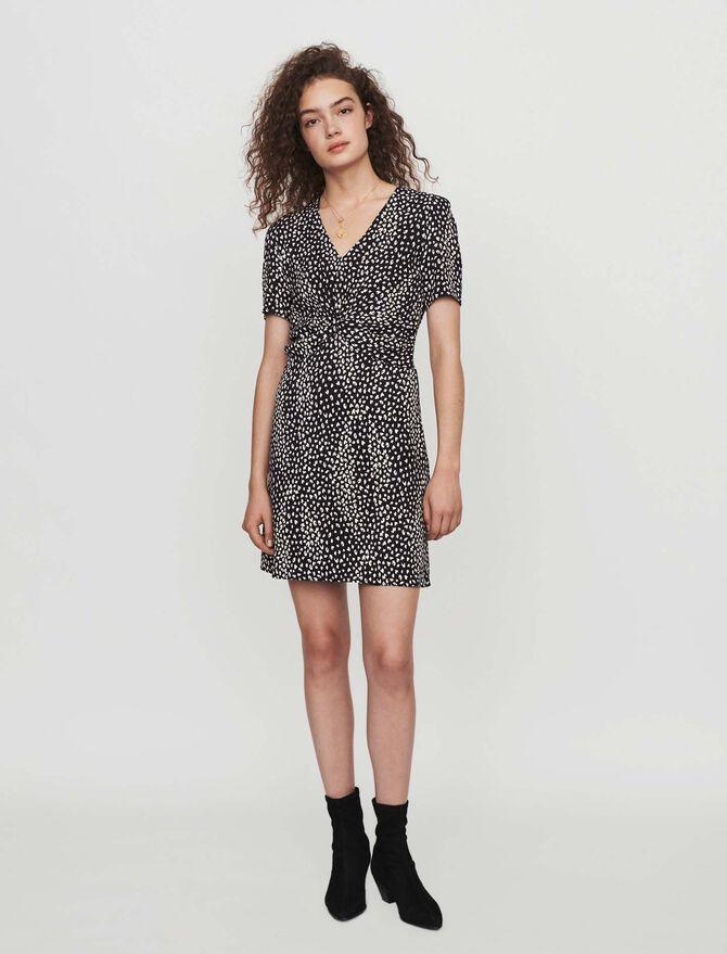 Gathered dress in printed jacquard - -30% - MAJE