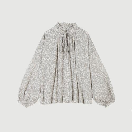 Floral-print cotton shirt : Tops & Shirts color Grey